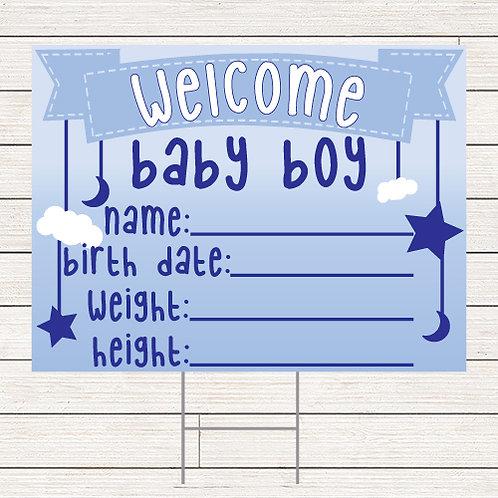 Welcome Baby Boy Yard Sign