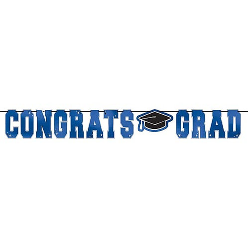 Blue Congrats Grad Banner