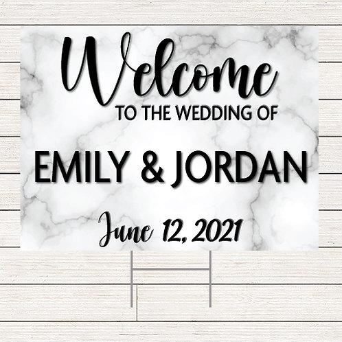 Marble Wedding Welcome Yard Sign