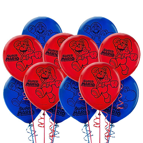 Super Mario Bros. Packaged Latex Balloons 12ct. FLAT