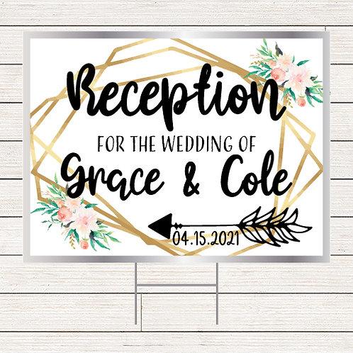 Floral Wedding Reception Yard Sign