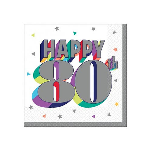 80th Multi Milestone Beverage Napkins