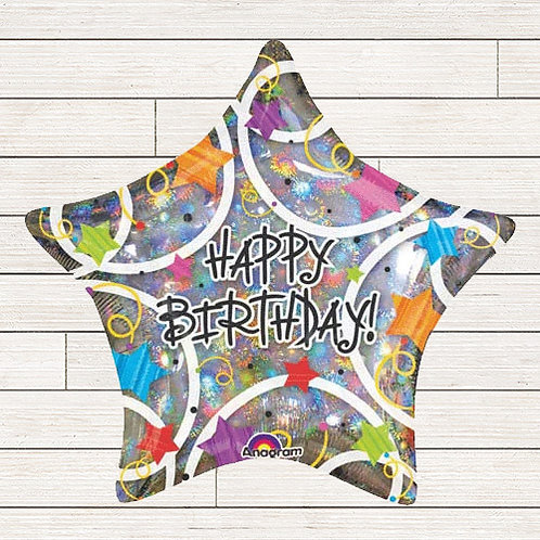 "32"" Giant Holographic Birthday Star Balloon"