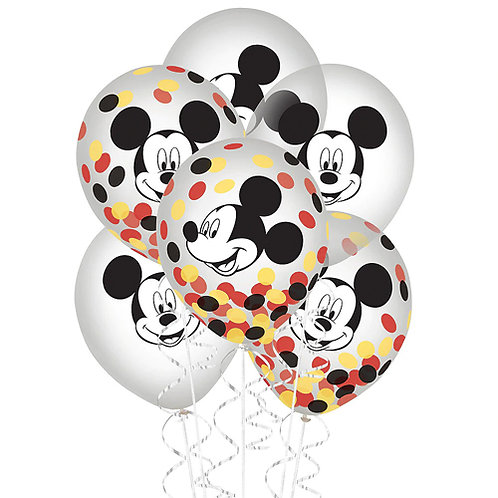 Mickey Mouse Confetti PACKAGED Latex Balloons 6ct. FLAT