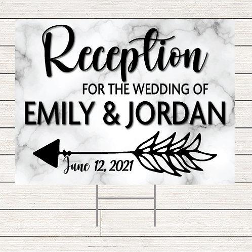 Marble Wedding Reception Yard Sign