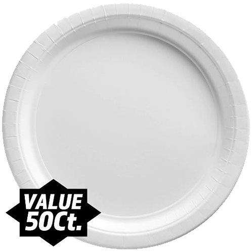 "White 9"" Paper Plates 50ct."