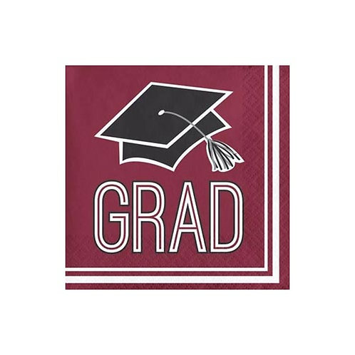 Burgundy/Maroon Grad Beverage Napkins 36ct.