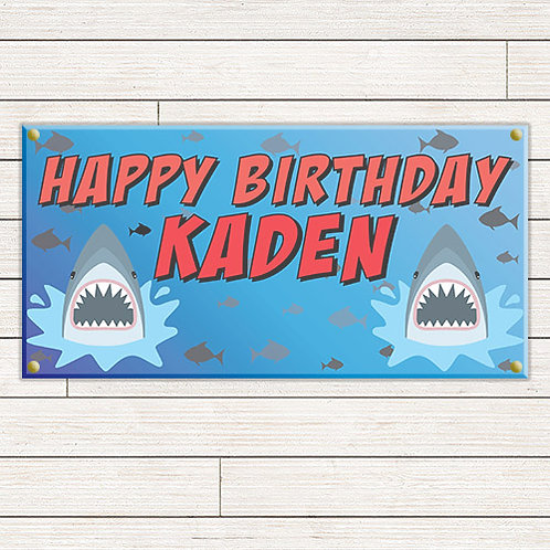 Shark Birthday 2'x4' Banner