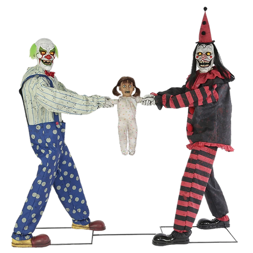 6' Tug of War Clowns Animated Prop