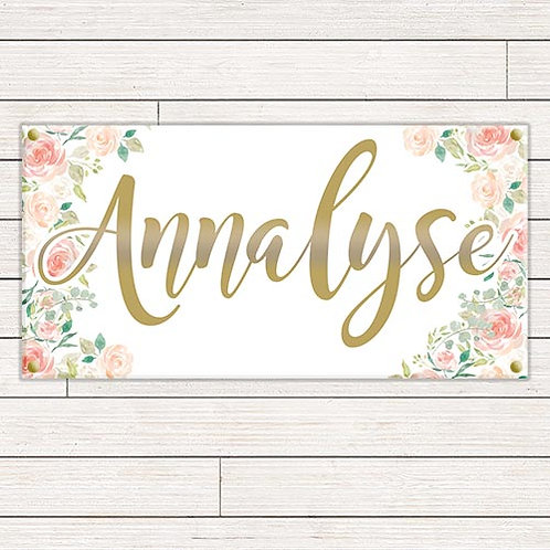 Personalized 2'x4' Floral Baby Banner