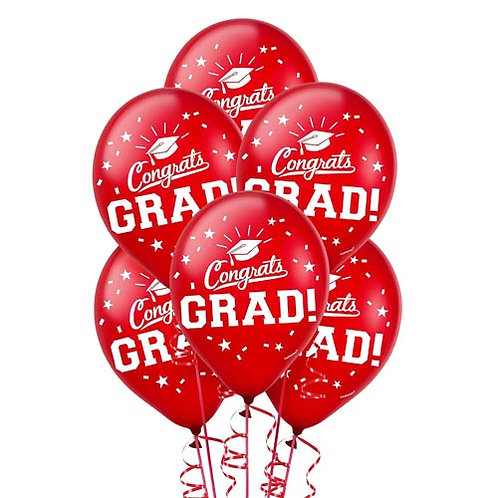 Red Packaged Latex Grad Balloons 15ct. FLAT