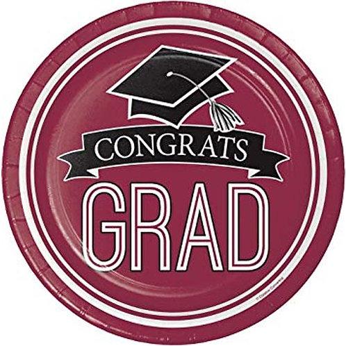 "9"" Burgundy/Maroon Congrats Grad Plates 18ct."