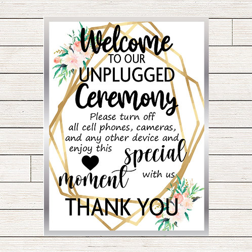 Floral Wedding Unplugged Ceremony Foam Sign