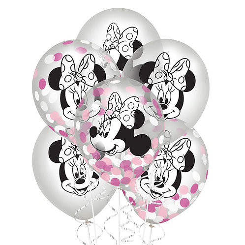 Minnie Mouse Confetti PACKAGED Latex Balloons 6ct. FLAT