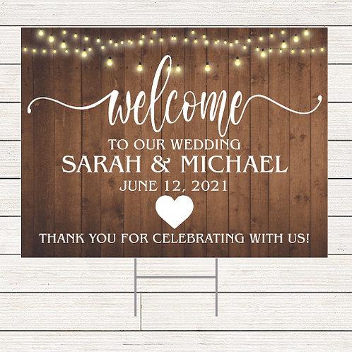 Rustic Wedding Welcome Yard Sign