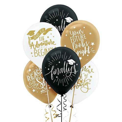 Adventure Packaged Latex Grad Balloons 15ct. FLAT