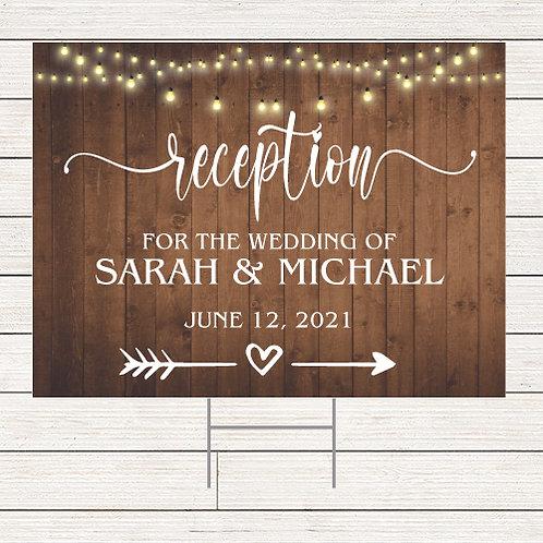 Rustic Wedding Reception Yard Sign