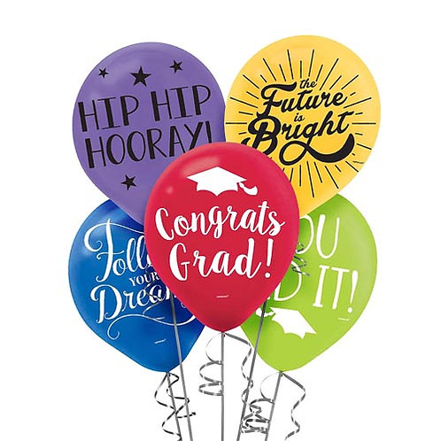 Multi Packaged Latex Grad Balloons 15ct. FLAT
