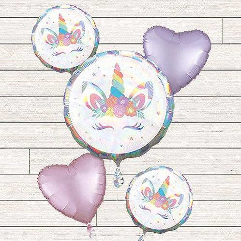 Iridescent Unicorns Mylar Balloon Bundle