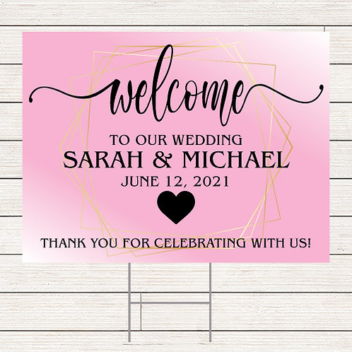 Blush Wedding Welcome Yard Sign