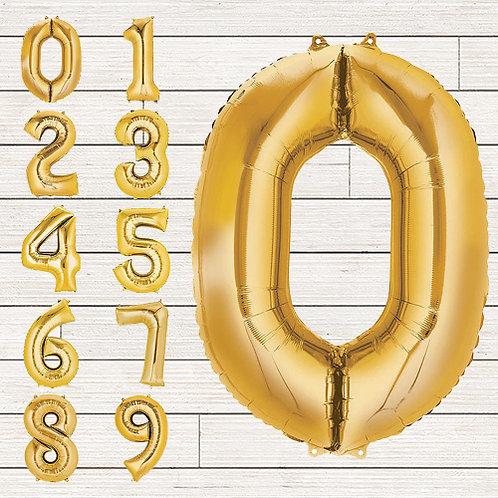 Gold Jumbo Number Mylar Balloon