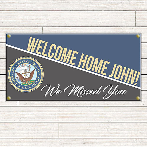 Navy Welcome Home 2'x4' Banner