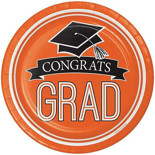 "9"" Orange Congrats Grad Plates 18ct."