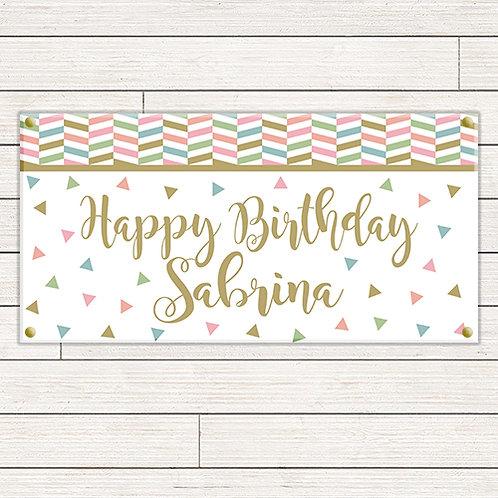 Pastel Shapes Birthday 2'x4' Banner