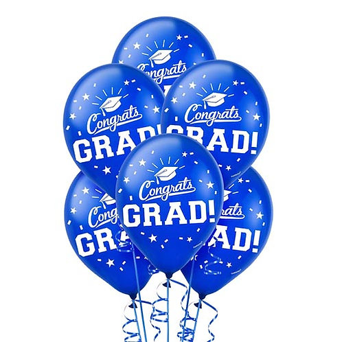 Blue Packaged Latex Grad Balloons 15ct. FLAT