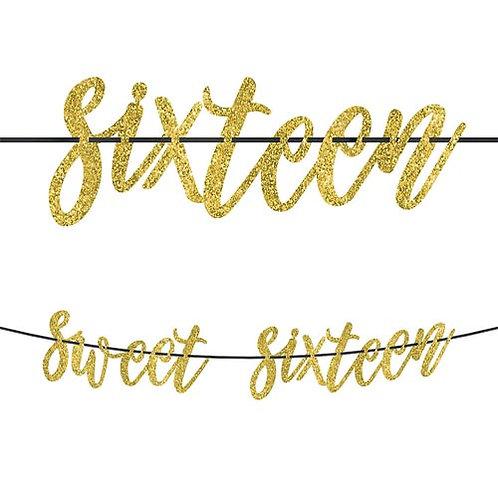 Sweet 16 Glitter Banner