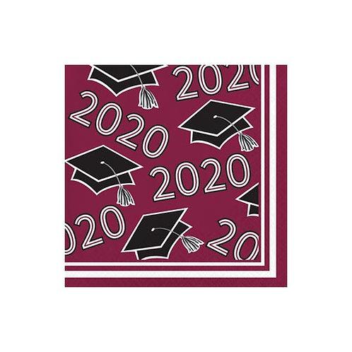 2020 Burgundy/Maroon Grad Beverage Napkins 36ct.
