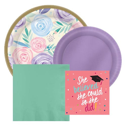 Bright Floral Grad Tableware Kit