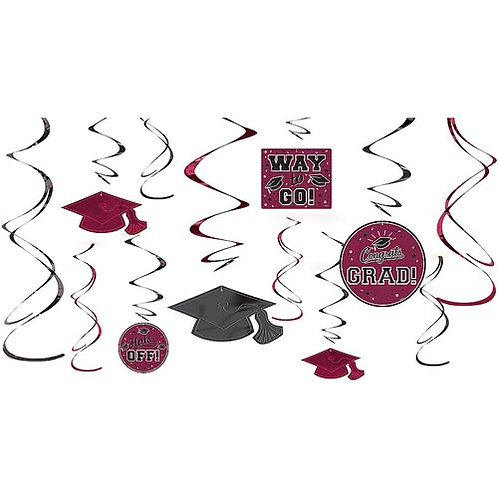 Burgundy/Maroon Grad Swirls 12ct.