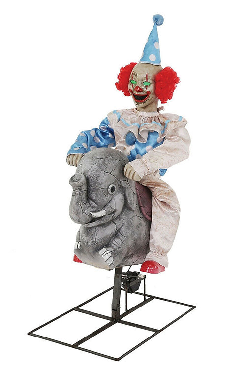 Rocking Elephant Clown Animated Prop