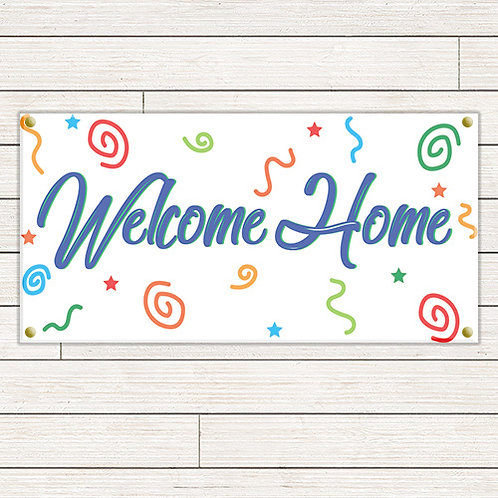 Multi-Colored Welcome Home 2'x4' Banner