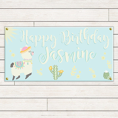 Llama Birthday 2'x4' Banner