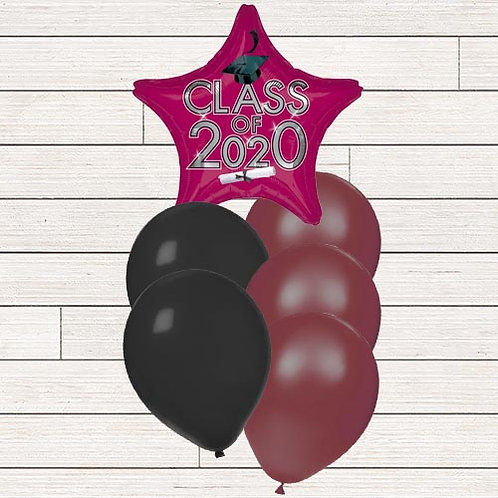 Burgundy/Maroon 2020 Grad Balloon Bouquet