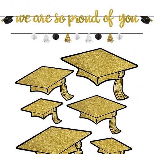 Black & Gold Grad Wall Decor Kit