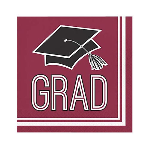 Burgundy/Maroon Grad Lunch Napkins 36ct.