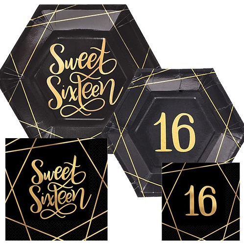 Elegant Gold Sweet 16 Tableware Kit