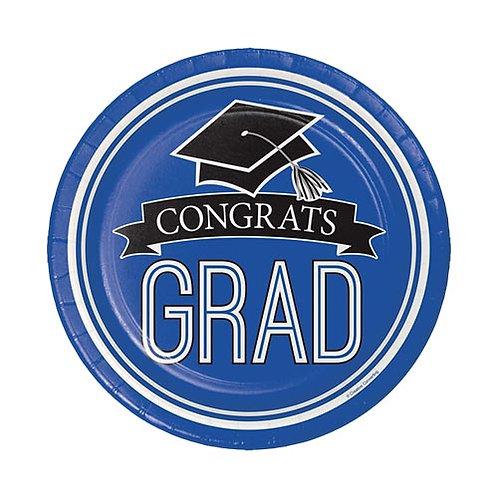 """7"""" Blue Congrats Grad Plates 18ct."""