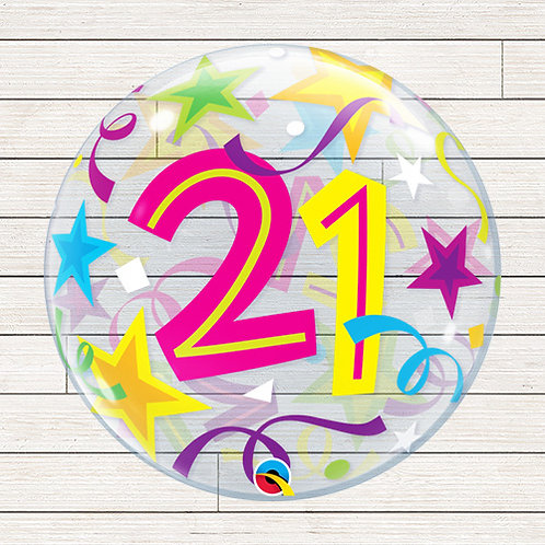 "22"" 21st Birthday Bubble Balloon"