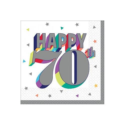 70th Multi Milestone Beverage Napkins