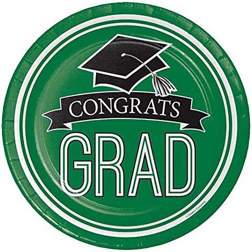 """9"""" Green Congrats Grad Plates 18ct."""