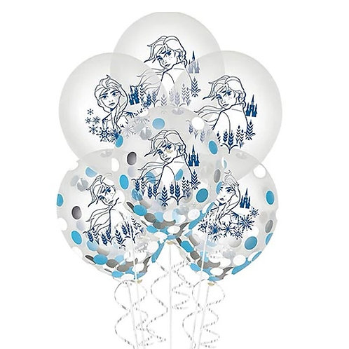 Frozen 2 Confetti Packaged Latex Balloons 6ct. FLAT