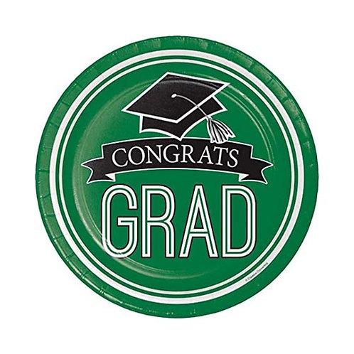 """7"""" Green Congrats Grad Plates 18ct."""