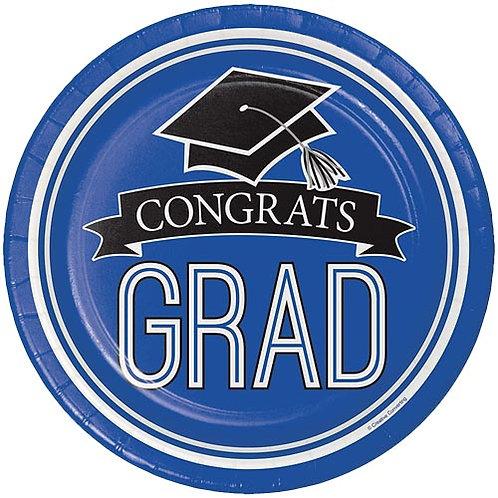 """9"""" Blue Congrats Grad Plates 18ct."""