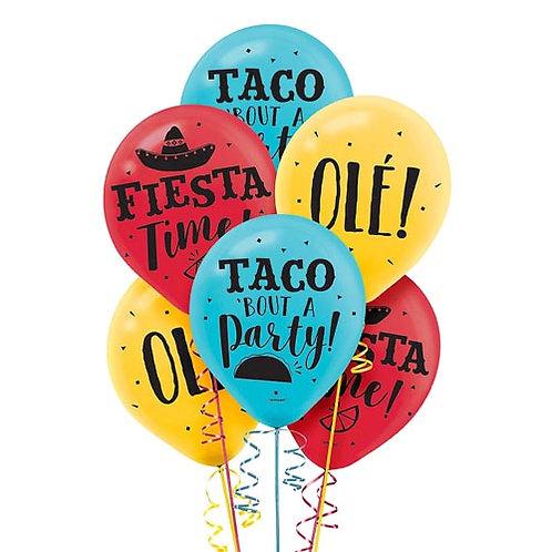 Packaged Fiesta Latex Balloons 15ct. FLAT