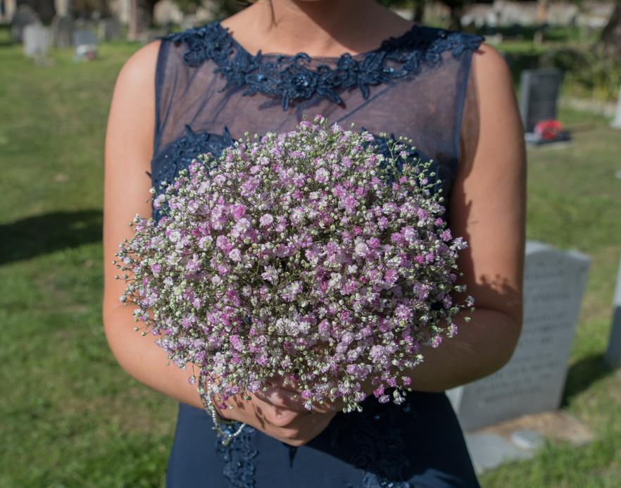 Pink gyp bridesmaid bouquet