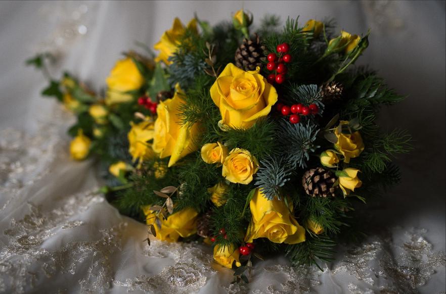 Golden winter cascade bouquet